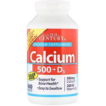 21ème siècle, Calcium 500 + D3, 400 Comprimés