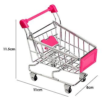 Supermarket Hand Trolley- Mini Shopping Cart Desktop Decoration Storage Toy