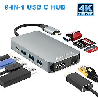 9-in-1 Type C To Hdmi/rj45/hdmi 4k Usb Hub/sd/tf Multi-function Docking Station For Macbook Pro Samsung S9 Thunderbolt 3 Usb C (silver)