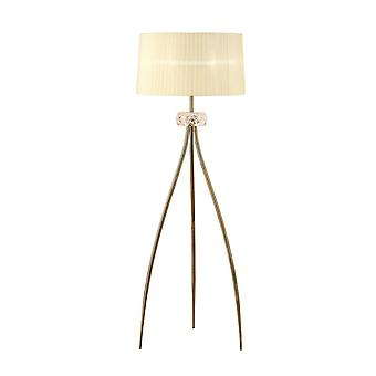 Inspired Mantra - Loewe - Floor Lamp 3 Light E27, Antique Brass with Cream Shade