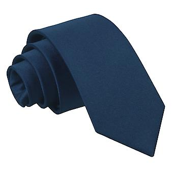 Navy Blue Plain Satin Slim Tie