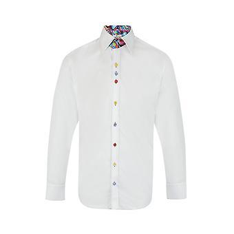 Claudio Lugli Classic Plain White Stain Glass Detail Shirt