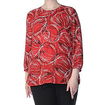 JM Collection   Printed Pleated-Back Blouse