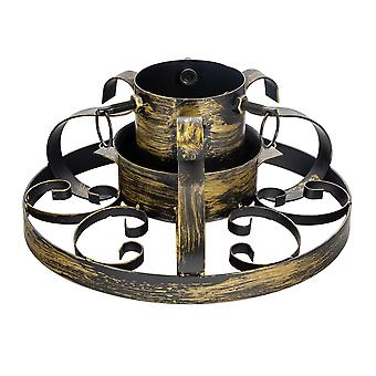 Traditional Hand Painted Metal Christmas Tree Stand - Gold