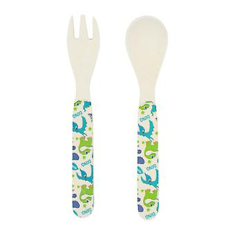 Tiny Dining Children's Bamboo Fibre Dining Fork & Spoon Cutlery Set - Dinosaure
