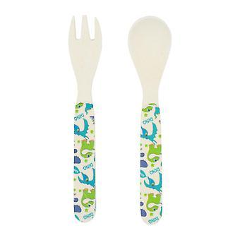 Tiny Dining Children's Bamboo Fibre Dining Fork & Spoon Cutlery Set - Dinosaur