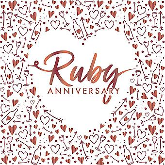 Ruby Anniversary Wedding Foiled Red Paper Party Napkins 3 ply x 16