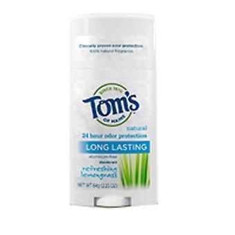Tom's Of Maine Deodorant Stick, Long Lasting Lemongrass 2.25 oz