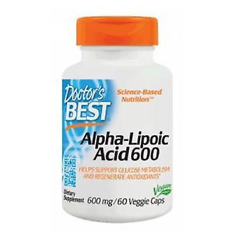 أفضل الأطباء أفضل حمض ألفا ليبويك، 600 ملغ، 60 قبعات نباتية