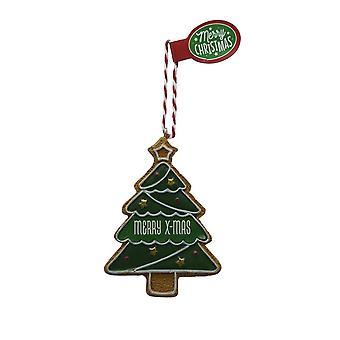 Figura de pan de jengibre MERRY X-MAS colgante árbol de Navidad