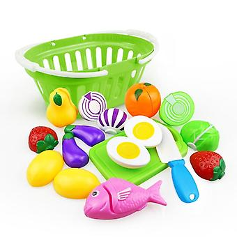 Cutting Fruit Vegetable Food, Pretend Play House Toy, Kitchen Educational,