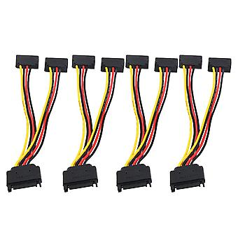 SATA 15 Pin Male to 2 Female Extension Splitter Power Cable 90 Degrees