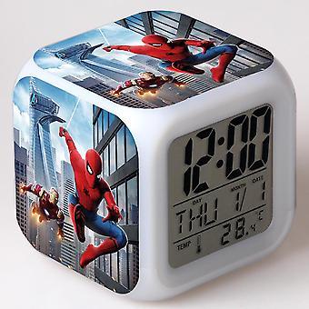 Colorful Multifunctional LED Children's Alarm Clock -Homem Aranha #7