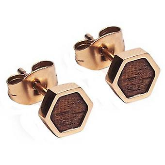 Boucles d'oreilles BeWooden Rea Hexagon - Rose Gold/Brown