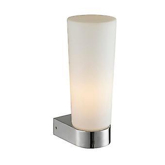 Nowoczesna lampa łazienkowa Chrom 1 Światło z opalowym odcieniem, E14 IP44