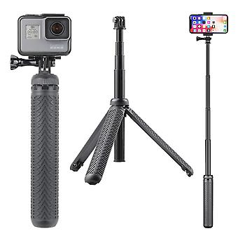 Soonsun 3-in-1 aluminum telescoping selfie stick monopod pole handheld grip with tripod stand for go
