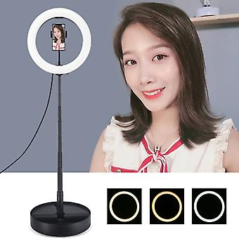 PULUZ 10.2 inch 26cm USB 3 Modes Dimmable Dual Color Temperature LED Curved  Ring Vlogging Selfie Photography Video Lights with Folding Desktop Holder