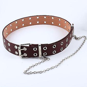 Women Punk Chain Fashion Belt Adjustable Double/single Row Hole Eyelet
