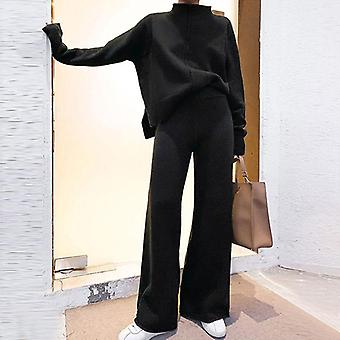Genayooa Two Piece Set Pullover Sweater Tracksuit Women High Waist Knit Wide