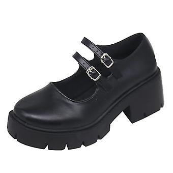høye hæler sko, høy pumper mote patent lær plattform sko kvinne rund tå