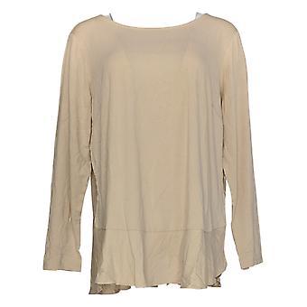 Linea Door Louis Dell'Olio Women's Plus Top Soft Peplum Knit Beige A302559