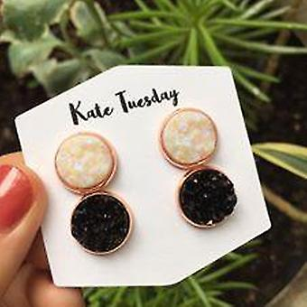 Double White + Black Druzy Earrings Set