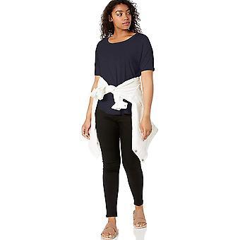Marke - tägliche Ritual Frauen's Jersey Rib Trim Drop-Shoulder Kurzarm Scoop Top, Marine, klein