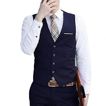 Men Slim Fits Vest Waistcoat Homme Casual Sleeveless Formal Business Jacket