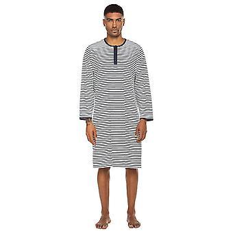 Men Casual Striped Long Sleeve O Neck Sleepshirt Nightwear Knee Length Spring