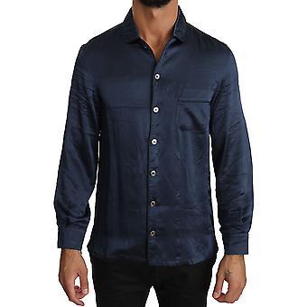 Dolce & Gabbana Blue Silk Casual Lounge Shirt