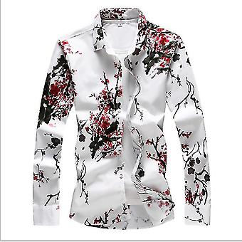 春と秋の男性&アポス;s大きなサイズのサタンフラワーロングスリーブスリムシャツ エスニックプリントシャツ 大サイズ