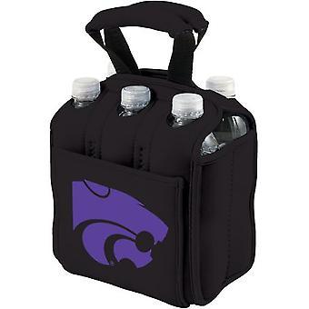 Six Pack - Enfriador de impresión digital negro (Kansas State Wildcats)
