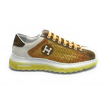 Men's Shoes Harris Sneakers Leather Weave Double Lemon and Fine Leather White U17ha145