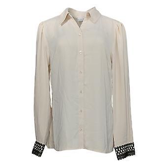 سوزان غرافر المرأة & ق أعلى المنسوجة زر الجبهة قميص أبيض A399007