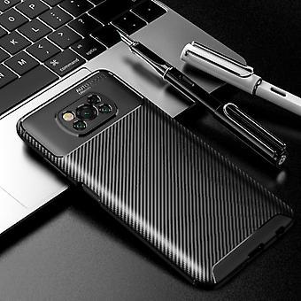 Auto Focus Xiaomi Poco M3 Case - Carbon Fiber Texture Shockproof Case Rubber Cover Black