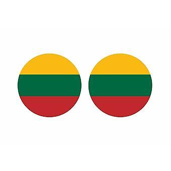 2x stick klistermärke rund cocarde litauisk flagga