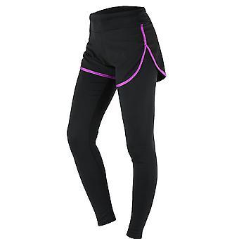 Women's gym sport yoga leggings fake two piece slim full length pants