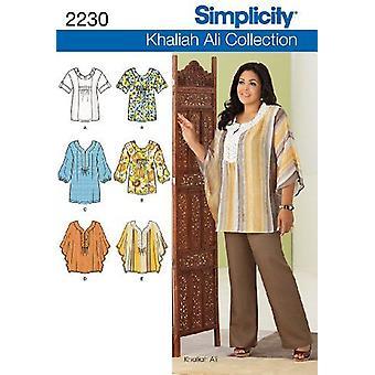 بساطة نمط الخياطة 2230 يفتقد النساء Tunics أعلى حجم 10-18 AA
