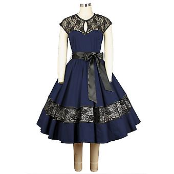 Chic Star Lace Key-hole Dress In Navy