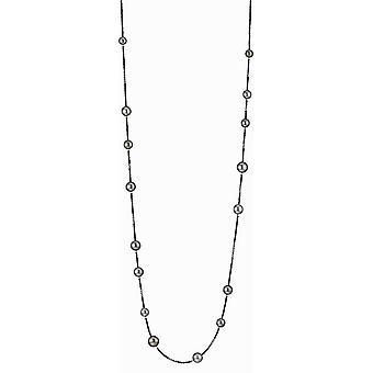 Adriana Collana perline Tahiti multi 9-12 mm nero spinello argento 100 cm I39-S