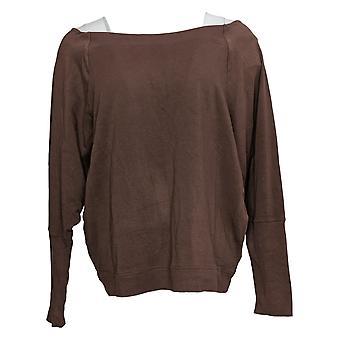 zuda Women's Sweater Z-Knit Pullover w/ Rib Detail Brown A382113