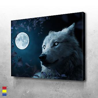 Wolf in schöner Nacht leinwand