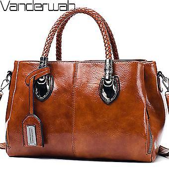 ヴィンテージオイルワックスレザーラグジュアリーハンドバッグ女性バッグデザイナーレディースハンドバッグ女性用2019バッグサックメインフェムボルサフェミニナ