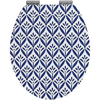 WC zitting Lorca 37,5 x 44 cm MDF blauw/wit
