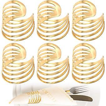 HanFei Ausgehhlte Serviettenringe Golden, Metall Serviettenhalter Tischdeko Elegante Modernes (6 Stück)