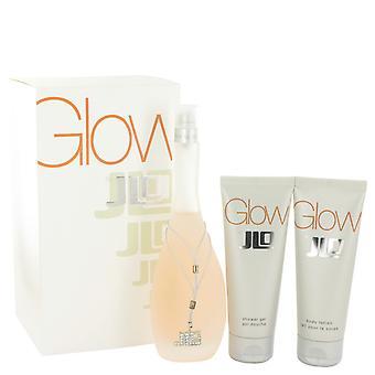 Glow de Jennifer Lopez Gift Set--3.4 oz Eau De Toilette Spray + 2.5 oz Body Lotion + Gel douche 2.5 oz