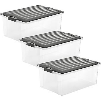FengChun Compact 3er-Set Aufbewahrungsbox 38l mit Deckel, Kunststoff (PP) BPA-frei,