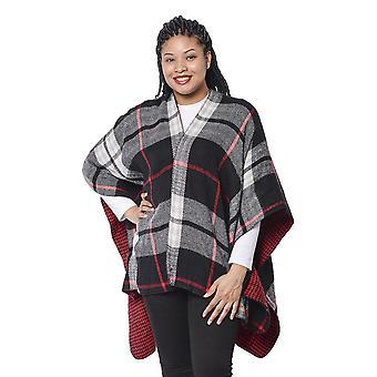 Doppelseitige karierte Muster Kimono mit Quaste Saum in rot / schwarz und weiß
