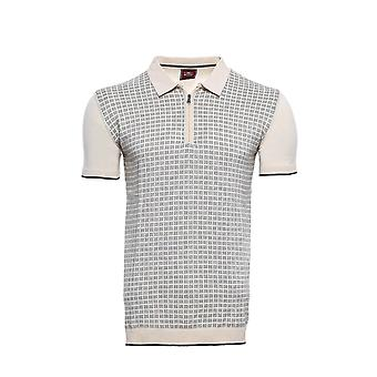 Cream plaid zippered polo knitted t-shirt   wessi
