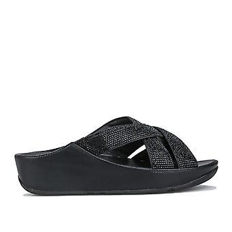 Vrouwen fit flop rooster microvezel teen post sandalen in zwart